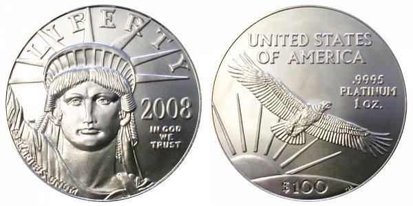 2008 One Ounce American Platinum Eagle - 1 oz Platinum $100