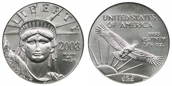 2008 Quarter Ounce American Platinum Eagle - 1/4 oz Platinum $25
