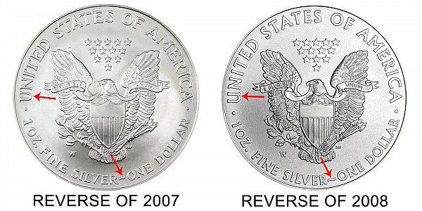 2008 W American Silver Eagle Bullion Coins Burnished One