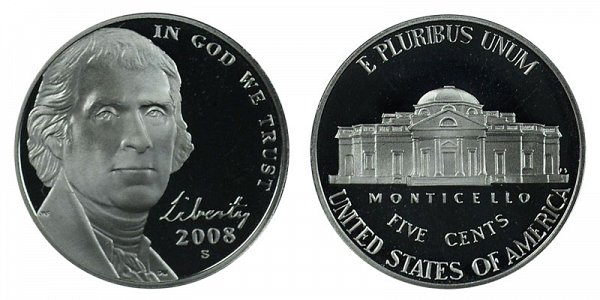 2008 S Jefferson Nickel Proof