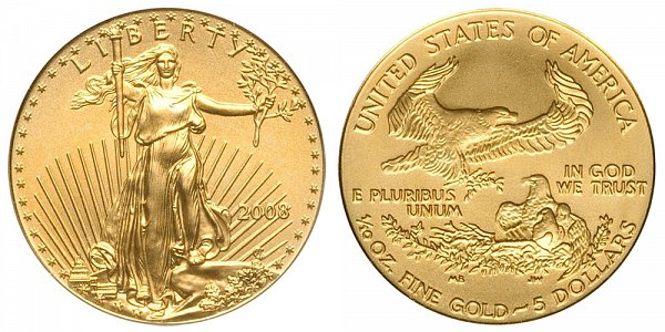 2008 Tenth Ounce American Gold Eagle - 1/10 oz Gold $5