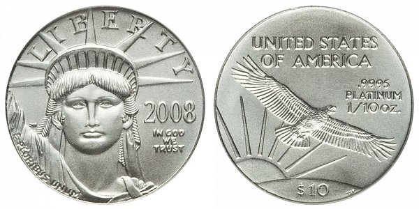 2008 Tenth Ounce American Platinum Eagle - 1/10 oz Platinum $10