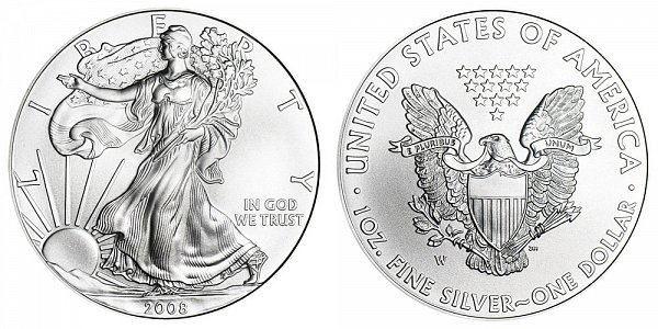 2008 W Burnished Uncirculated American Silver Eagle