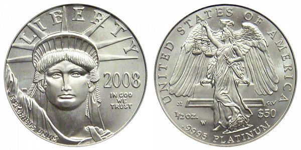 2008 W Burnished Uncirculated Half Ounce American Platinum Eagle - 1/2 oz Platinum $50