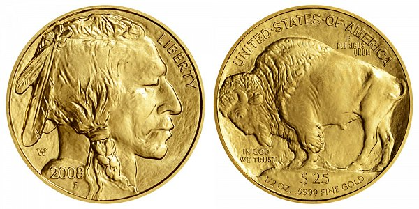 2008 W Burnished Uncirculated Half Ounce Gold American Buffalo - 1/2 oz Gold $25