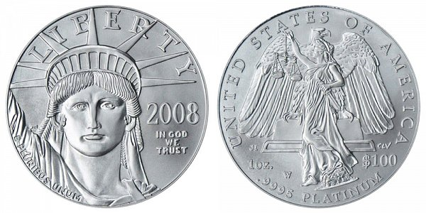 2008 W Burnished Uncirculated One Ounce American Platinum Eagle - 1 oz Platinum $100