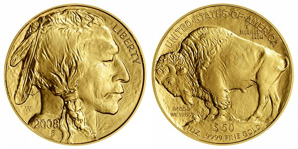 2008 W Burnished Uncirculated One Ounce Gold American Buffalo - 1 oz Gold $50