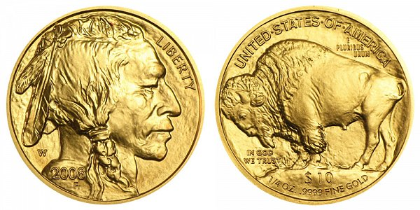 2008 W Burnished Uncirculated Quarter Ounce Gold American Buffalo - 1/4 oz Gold $10