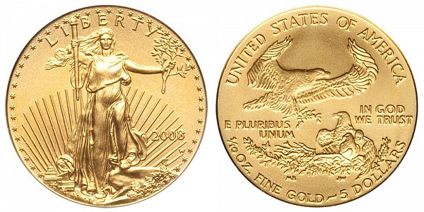 2008 W Burnished Uncirculated Tenth Ounce American Gold Eagle - 1/10 oz Gold $5