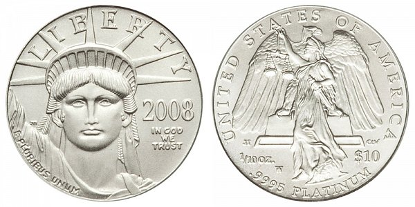 2008 W Burnished Uncirculated Tenth Ounce American Platinum Eagle - 1/10 oz Platinum $10