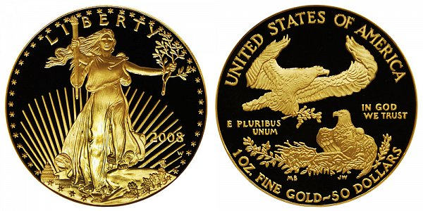 2008 W Proof One Ounce American Gold Eagle - 1 oz Gold $50
