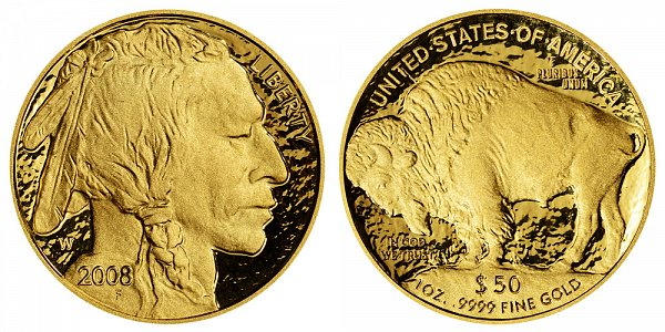 2008 W Proof One Ounce Gold American Buffalo - 1 oz Gold $50