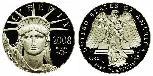 2008 W Proof Quarter Ounce American Platinum Eagle - 1/4 oz Platinum $25