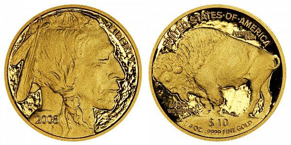 2008 W Proof Quarter Ounce Gold American Buffalo - 1/4 oz Gold $10