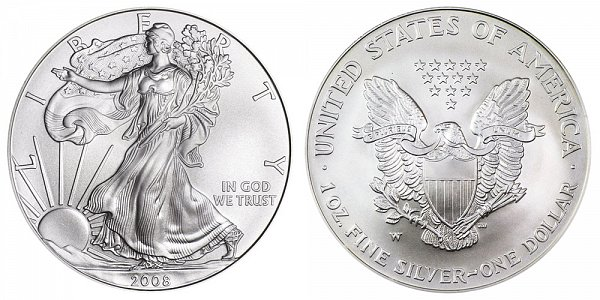 2008-W Reverse of 2007 - Burnished Uncirculated American Silver Eagle