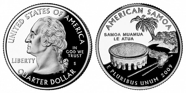 2009 S Silver Proof American Samoa Quarter