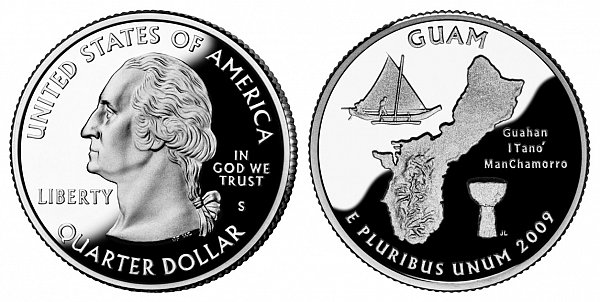 2009 S Silver Proof Guam Quarter