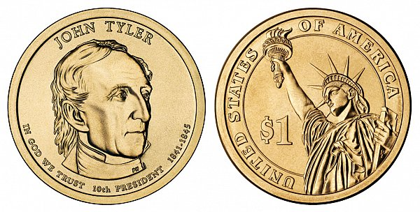 2009 P Presidential Dollar John Tyler Golden Dollar Coin Value Prices Photos Amp Info
