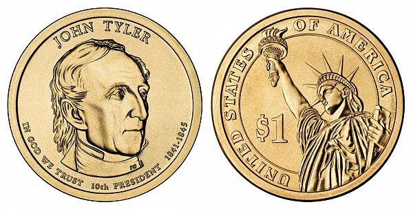 2009 P John Tyler Presidential Dollar Coin