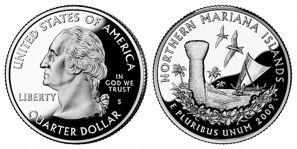 2009 S Silver Proof Northern Mariana Islands Quarter