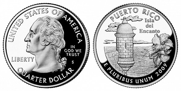 2009 S Silver Proof Puerto Rico Quarter