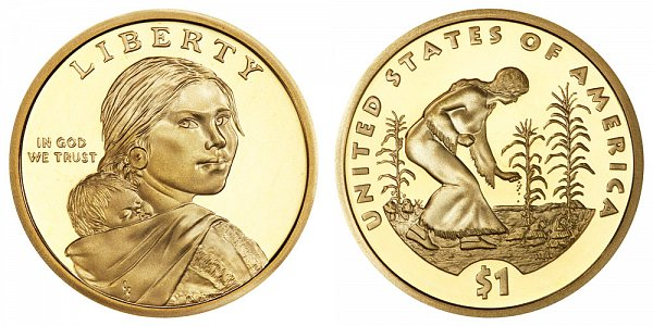 2009 S Proof Sacagawea Native American Dollar Coin - Spread of Three Sisters