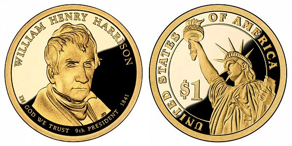 2009 S Proof William Henry Harrison Presidential Dollar Coin