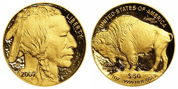 2009 W Proof One Ounce Gold American Buffalo - 1 oz Gold $50