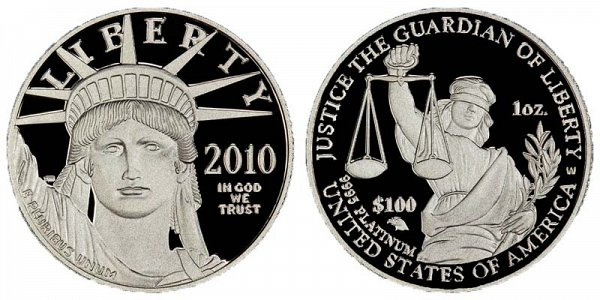 2010 W Proof One Ounce American Platinum Eagle - 1 oz Platinum $100