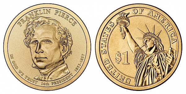 2010 D Franklin Pierce Presidential Dollar Coin