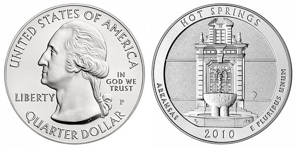 2010 Hot Springs 5 Ounce Burnished Uncirculated Coin - 5 oz Silver
