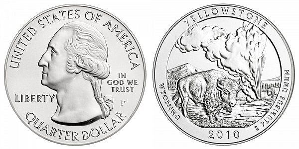 2010 Yellowstone 5 Ounce Burnished Uncirculated Coin - 5 oz Silver