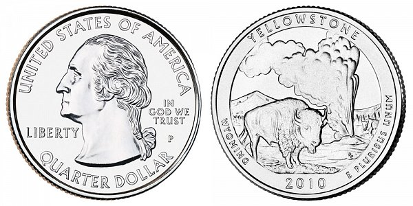 2010 P Yellowstone National Park Quarter - Wyoming