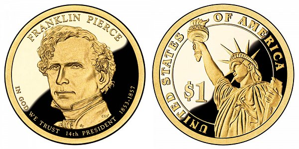 2010 S Proof Franklin Pierce Presidential Dollar Coin