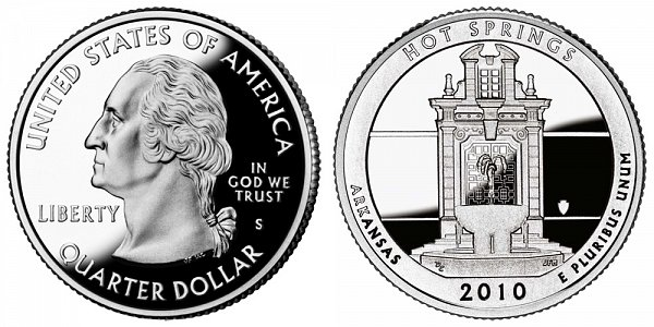 2010 S Silver Proof Hot Springs National Park Quarter - Arkansas