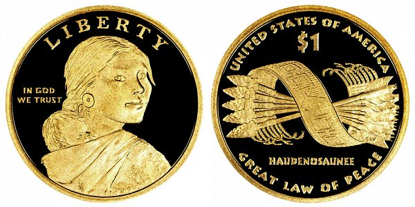 2010 S Proof Sacagawea Native American Dollar Coin - Great Law of Peace
