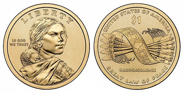 2010 D Sacagawea Native American Dollar Coin - Great Law of Peace