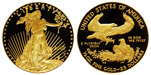2010 W Proof Half Ounce American Gold Eagle - 1/2 oz Gold $25