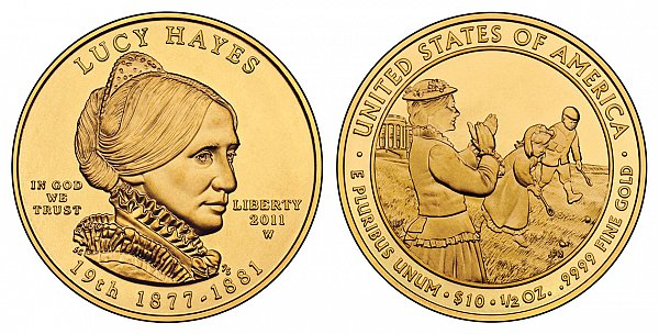 2011 Lucy Hayes First Spouse Gold Coin