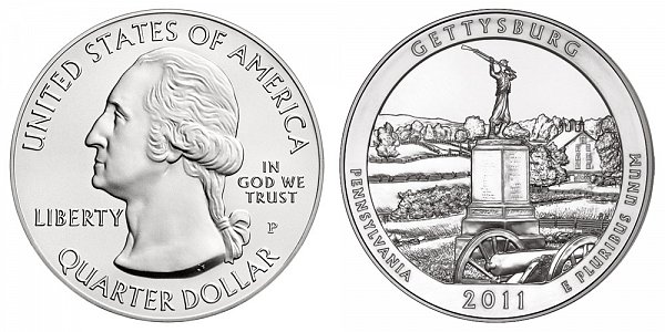 2011 Gettysburg 5 Ounce Burnished Uncirculated Coin - 5 oz Silver