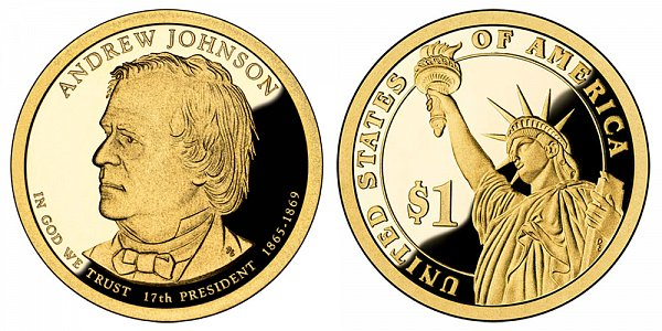 2011 S Proof Andrew Johnson Presidential Dollar Coin