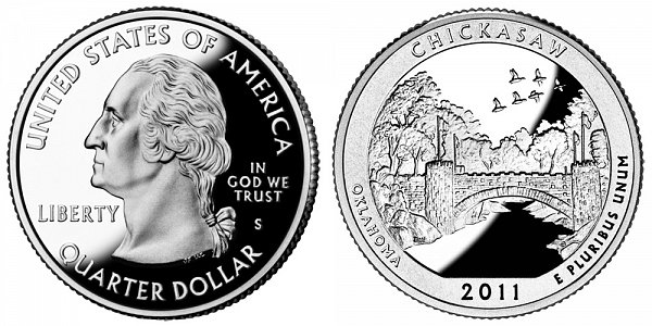 2011 S Silver Proof Chickasaw National Recreation Area Quarter - Oklahoma