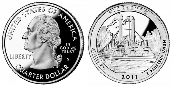 2011 S Silver Proof Vicksburg National Military Park Quarter - Mississippi