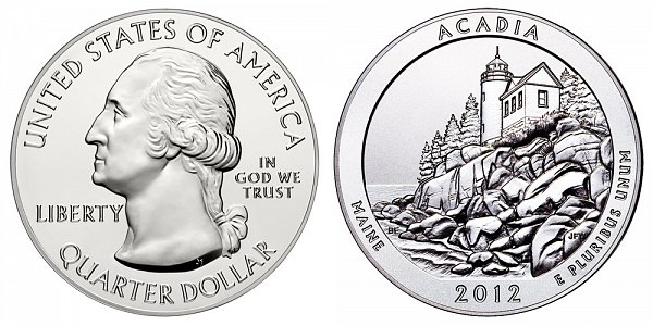 2012 Acadia 5 Ounce Bullion Coin - 5 oz Silver