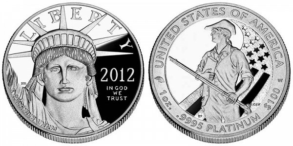 2012 W Proof One Ounce American Platinum Eagle - 1 oz Platinum $100