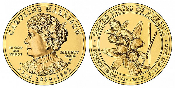 2012 Caroline Harrison First Spouse Gold Coin