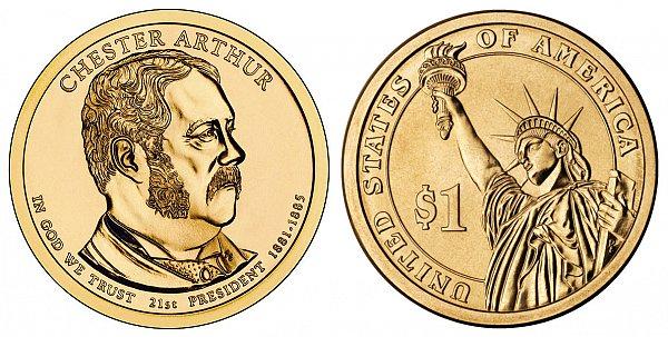 2012 Chester Arthur Presidential Dollar Coin