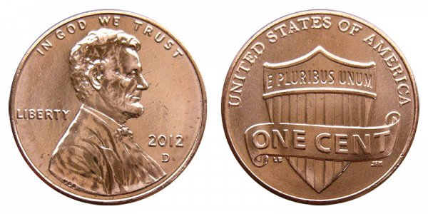 2012 D Lincoln Shield Cent Penny