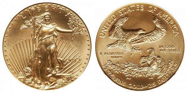 2012 Half Ounce American Gold Eagle - 1/2 oz Gold $25