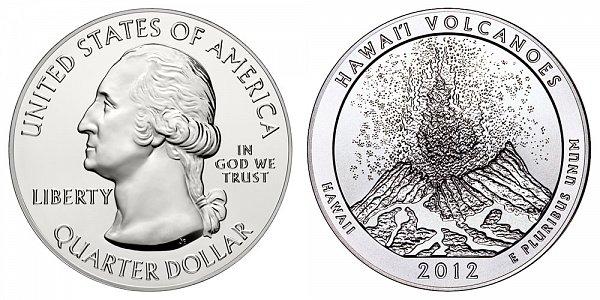 2012 Hawaii Volcanoes 5 Ounce Bullion Coin - 5 oz Silver